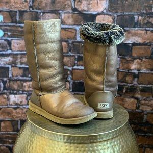 Ugg Tall Boots Metallic Bronze
